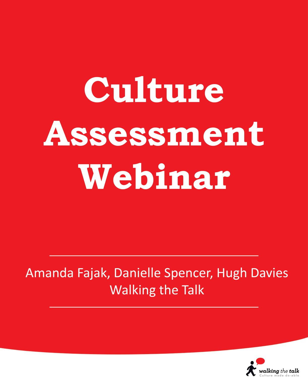 Culture Assessment Webinar