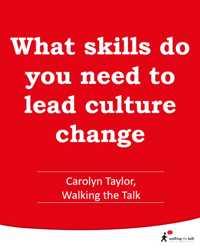 What skills do you need to lead culture change video