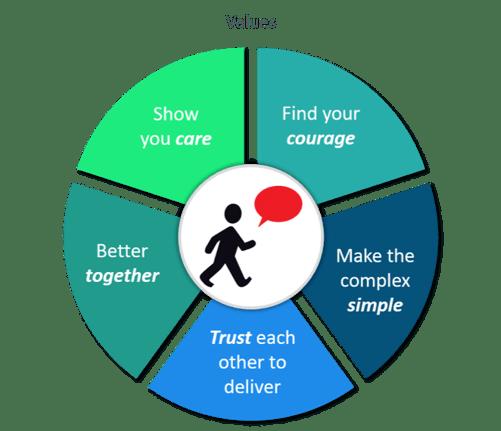 Telecommunications company - values