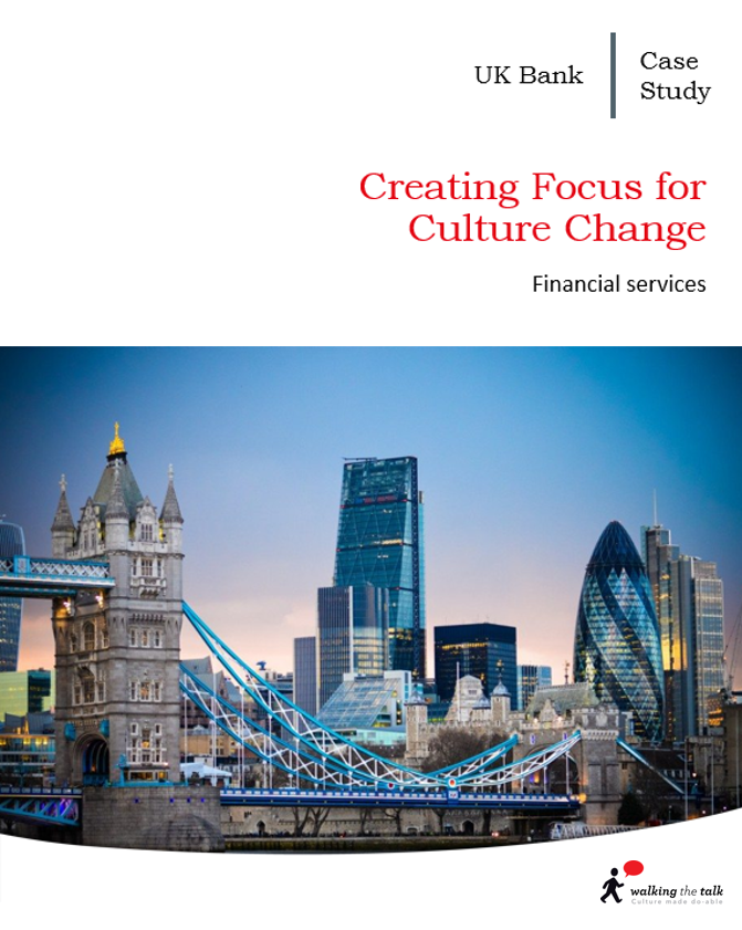 Culture transformation case study for UK bank